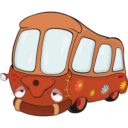 The little red school bus. Cartoon  Vector