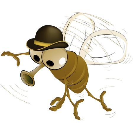 poisonous insect: Fly in a hat Illustration
