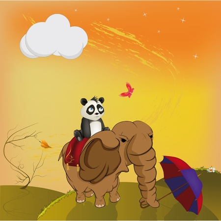 cartoon panda: Fairy tale about travels Illustration