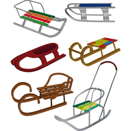 bobsled: Set sledge Illustration