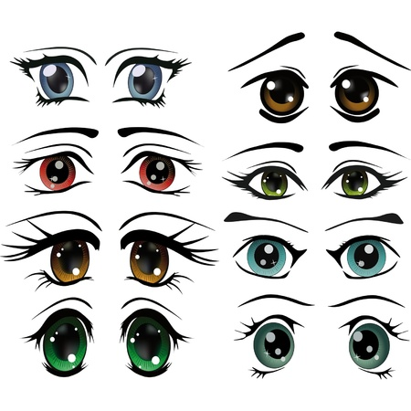 optics: The complete set of the drawn eyes  Illustration