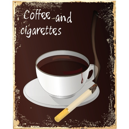 .offee and cigarettes . EPS 10 Vector