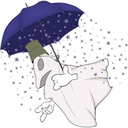 Evil spirits and magic umbrella Stock Vector - 12483572