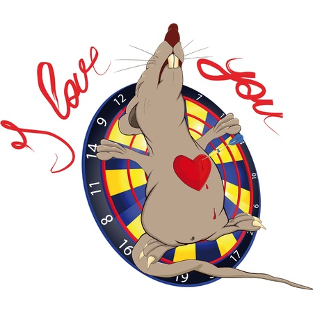 Rat love and a darts Vector