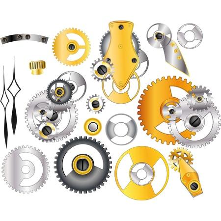 maschinenteile: Die kompletten Satz Mechanismen und Getriebe Illustration