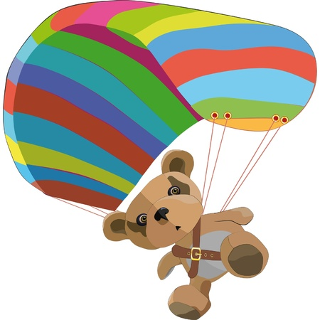 skydiving: Toy bear on the para clown  Illustration
