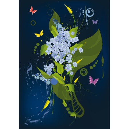 Abstract ornament with a lilac and butterflies against night  Vector
