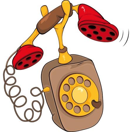 telefono caricatura: Dibujos animados de tel�fono antiguo Vectores