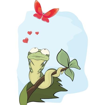 cartoon larva: Caterpillar and the butterfly