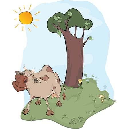 Cow on a meadow Vector