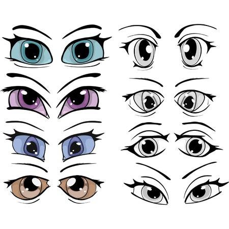 El conjunto completo de los ojos dibujados Ilustración de vector