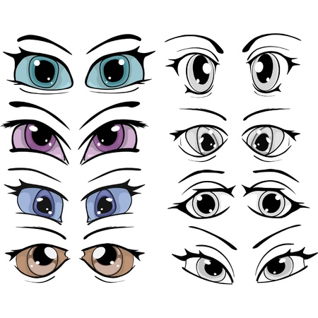 caricature woman: The complete set of the drawn eyes  Illustration