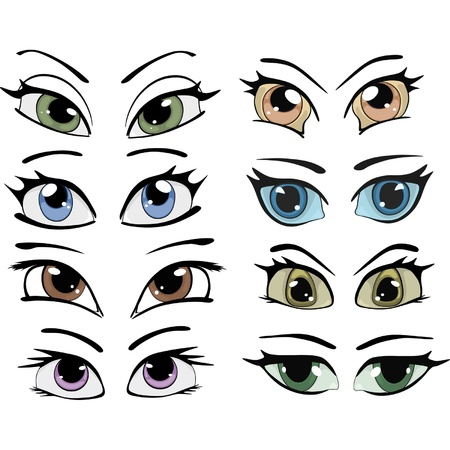 eyes closeup: The complete set of the drawn eyes  Illustration
