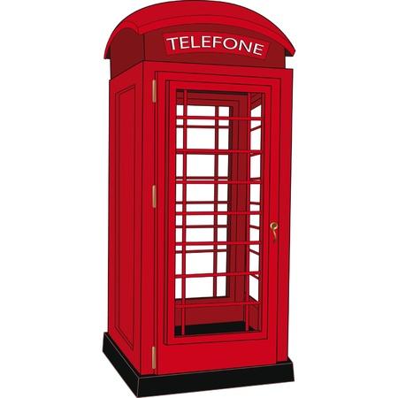 cabina telefono: Teléfono público Roja Vectores