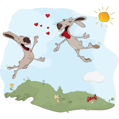 Rabbits and love. A meeting. Cartoon  Vector