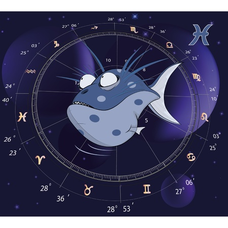 Pisces Zodiac Sign. Fish  Vector