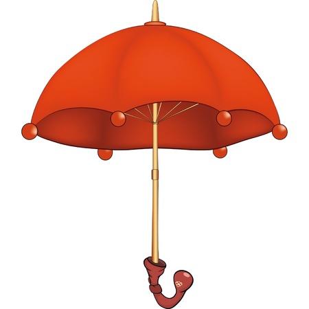 赤い傘。漫画  イラスト・ベクター素材