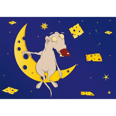 Mouse on the moon in the cheese country  Cartoon Vector