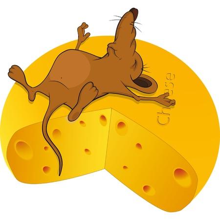 Spanie małą myszkę i duży kawałek sera Cartoon Ilustracje wektorowe