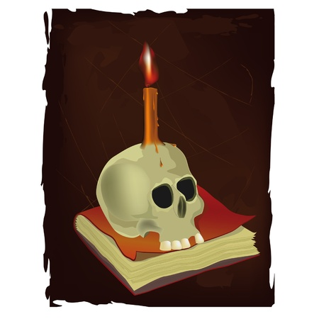 Skull, the book and candle.  Vector