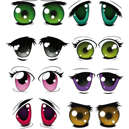 he complete set of the drawn eyes Vector