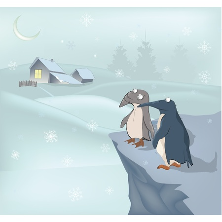 Penguins and winter  Vector