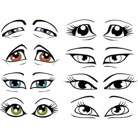 El conjunto completo de los ojos dibujados