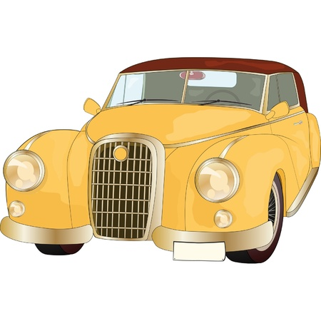 motor car candles: The old yellow car from a fairy tale Illustration