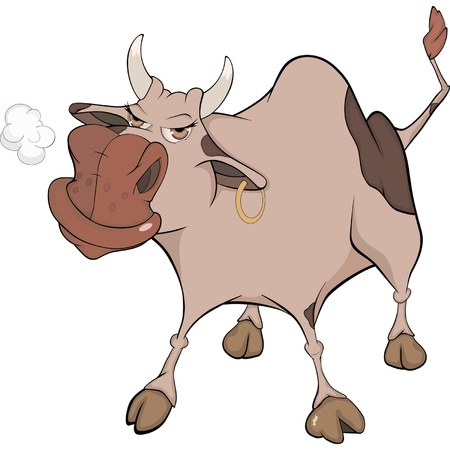 cow cartoon: Bull. Cartoon  Illustration