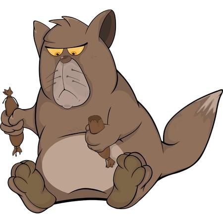 Cat and sausage. Cartoon Stock Vector - 12485814