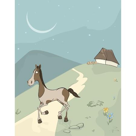 donkey tail: Caballo en un prado de la historieta