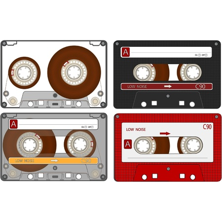 reproductive technology: El conjunto completo de las diferentes cintas casetes de audio EPS10 Vectores