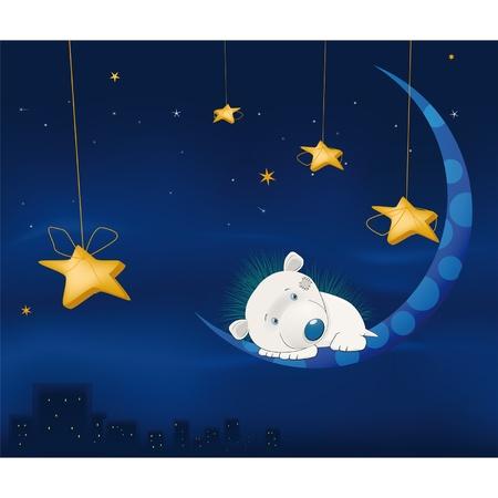Cuento de hadas sobre un pequeño erizo, la noche, la luna y una ciudad