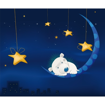 Fairy tale about a small hedgehog, night, the moon and a city Vector