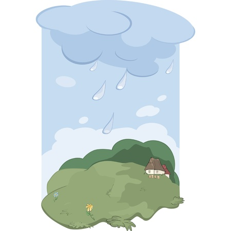 Rain in village  Landscape  Stock Vector - 12485799
