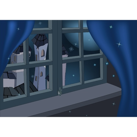 Window, night and fantastic city  Vector