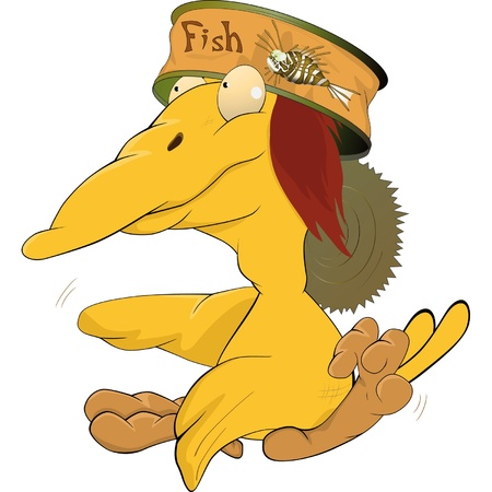 Yellow ridiculous bird and fish can Stock Vector - 12485805
