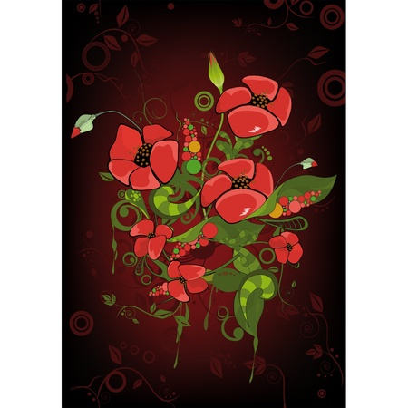 Abstract ornament with poppies  Vector
