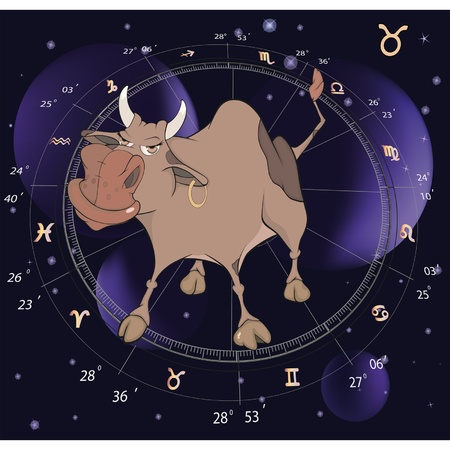Zodiac signs. Taurus. Cartoon  Vector