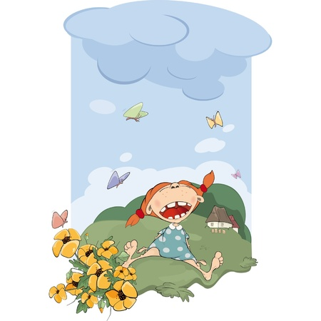 The girl on a meadow Stock Vector - 12486252