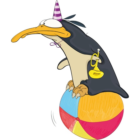 Pinguïn in circus Vector Illustratie