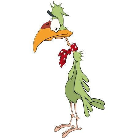 Sad green parrot Stock Vector - 12486263