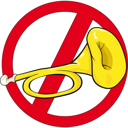 aşırı: traffic sign horn illustration  Cartoon