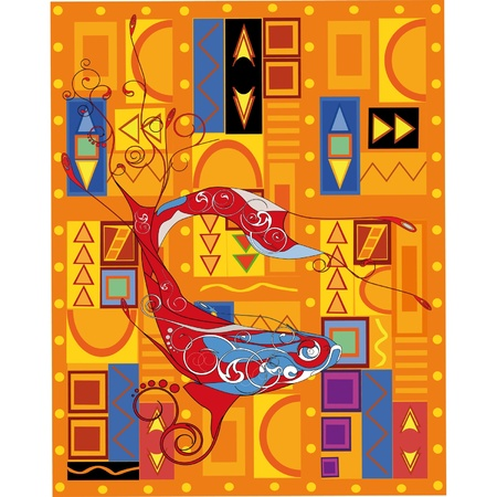 Fish and the African ornament  Vector