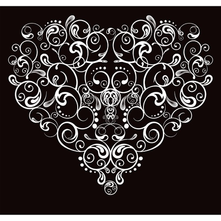 gothic heart: Heart, abstract pattern on a black background