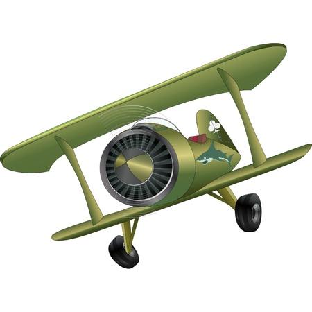 古い飛行機の複葉機