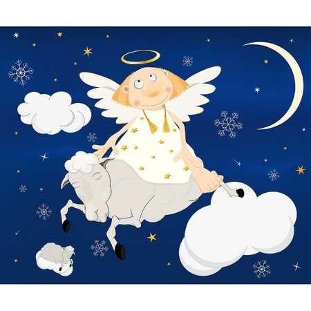 moon angels: Christmas card.Angel on a lamb.