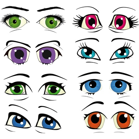 light shadow: The complete set of the drawn eyes  Illustration