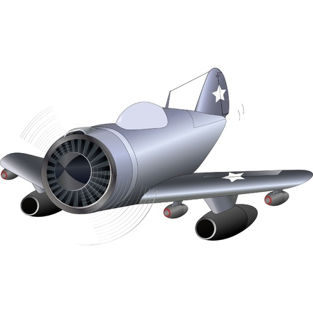 jet fighter: The old military plane  Illustration
