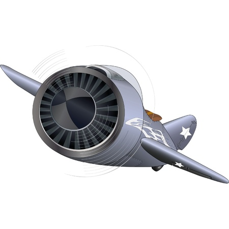 airplane engine: The old military plane  Illustration